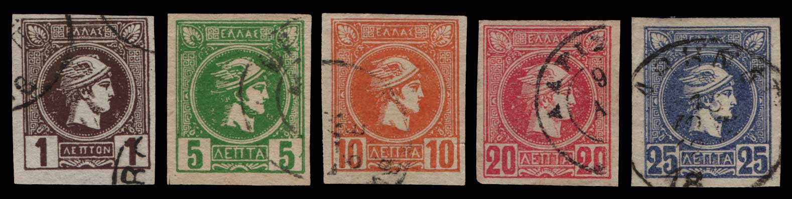 Lot 441 - -  SMALL HERMES HEAD ATHENSPRINTING - 1st PERIOD -  Athens Auctions Public Auction 84 General Stamp Sale